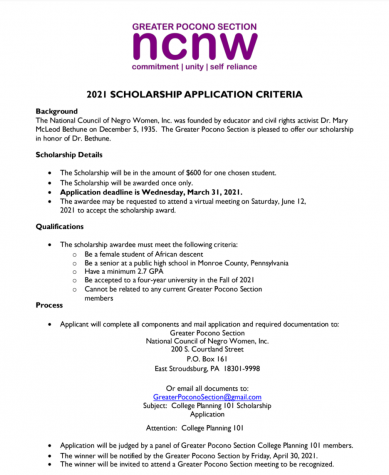 Greater Pocono Section NCNW Scholarship (Due: 03-31-21)