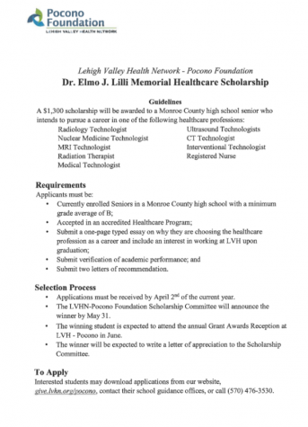 Dr. Elmo Memorial Healthcare Scholarship (Due: 04-02-21)