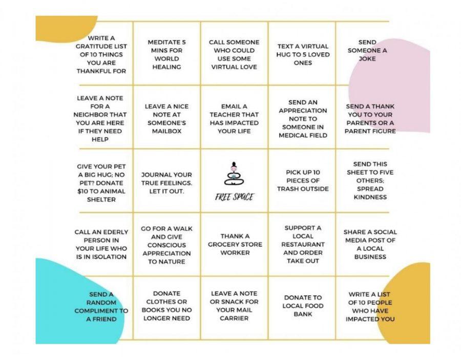 Aevidum Kindness Bingo: Hand to Mrs. Tkach or Ms. Laskowski by 2/26/21