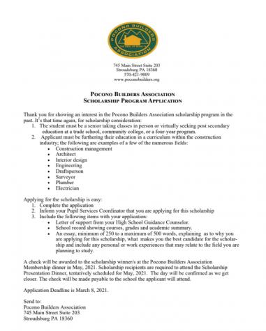 Pocono Builder Association Scholarship (Due: 03-08-21)