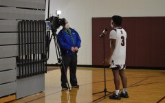 Senior Jahkai Barnes is interviewed by Channel 16 news after a home win over Pocono Mountain West on Tuesday, February 16.