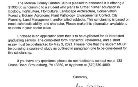 Garden Club Scholarship (Due: 05-03-21)