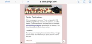 Fill Out Your Senior Destination Form Here!