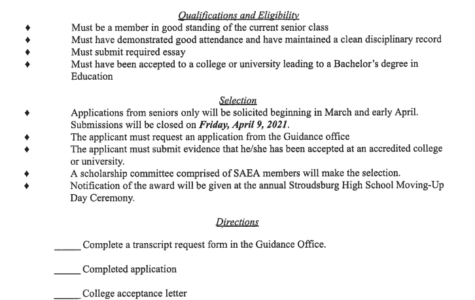 Stroudsburg Area Education Association (SAEA) Scholarship (Due: 04-09-21)