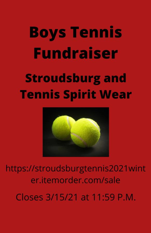 Boys Tennis Spirit Wear Fundraiser: 3/15/21 (11:59 P.M.)