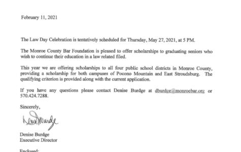 Monroe County Bar Scholarship (Due: 03-31-21)