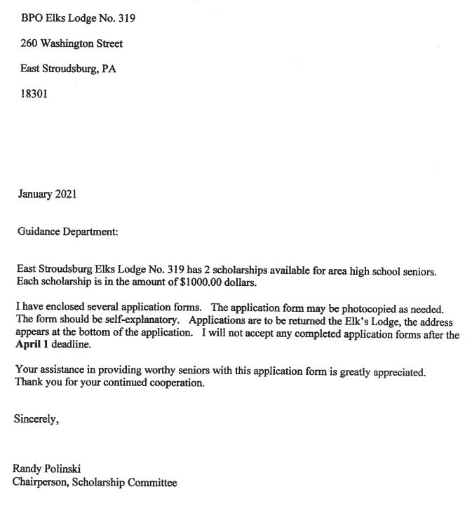East Stroudsburg Elks Scholarship (Due: 04-01-21)