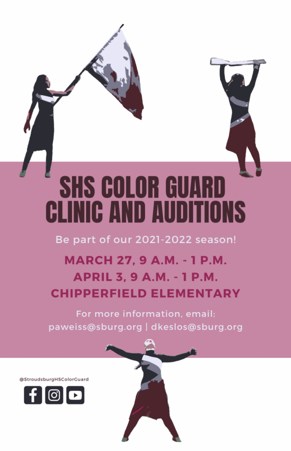 SHS Color Guard Clinic and Auditions: 3/27 and 4/3/21 (9 A.M. to 1 P.M.)