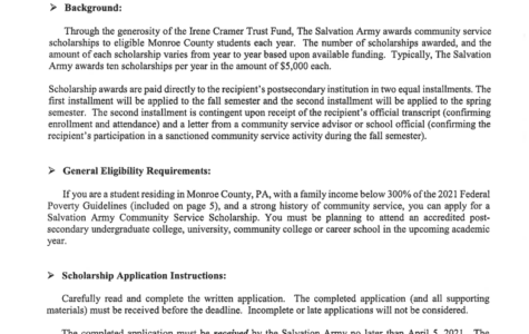 Salvation Army Scholarship (Due: 04-05-21)