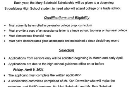 Mary Sobrinski Scholarship (Due: 04-09-21)