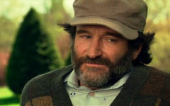 A Robin Williams closeup in one of the scenes for Good Will Hunting.