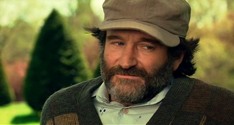 A+Robin+Williams+closeup+in+one+of+the+scenes+for+%22Good+Will+Hunting%22.