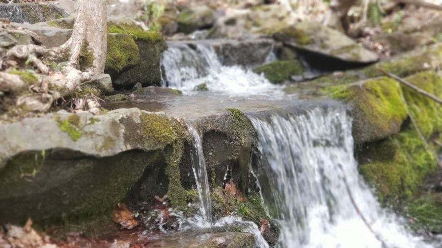 Small waterfall shot with water flowing down smooth, damp rocks