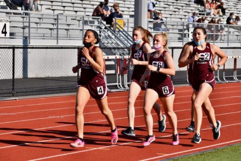The Stroudsburg girls distance team competes in a track meet vs East Stroudsburg North.