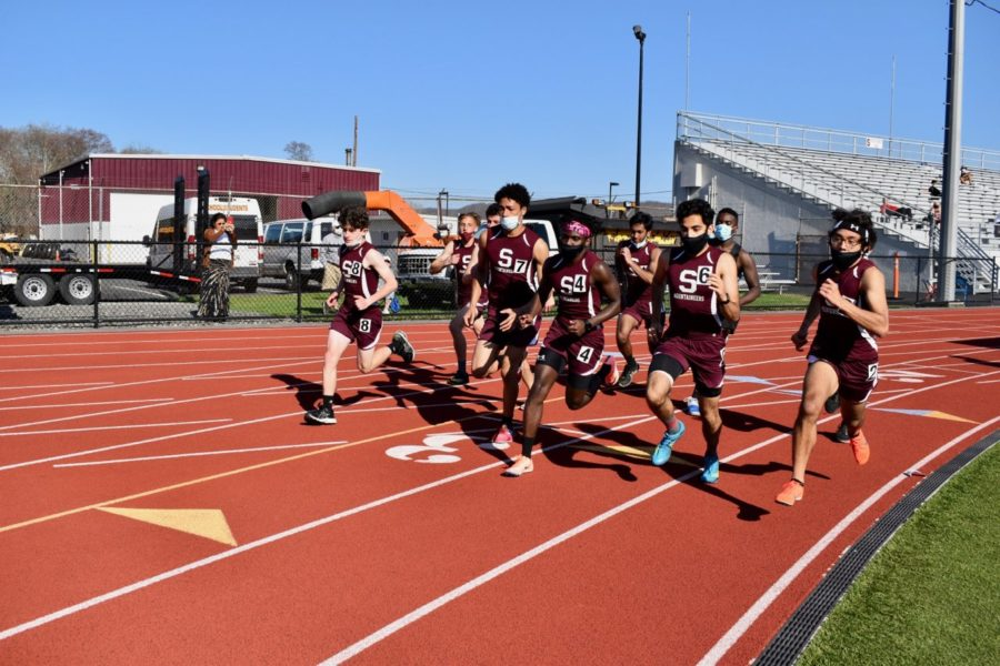 The 800m run begins at the track meet vs East Stroudsburg North on Thursday, April 8.  Nick Bodon (far right) won the race in 2:13.83.