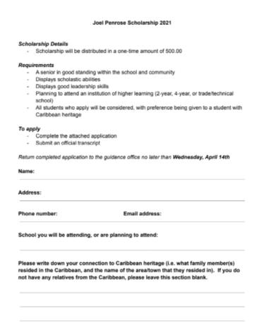 Joel Penrose Scholarship (Due: 04-14-21)