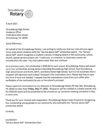 Rotary Scholarship (Due: 04-30-21)
