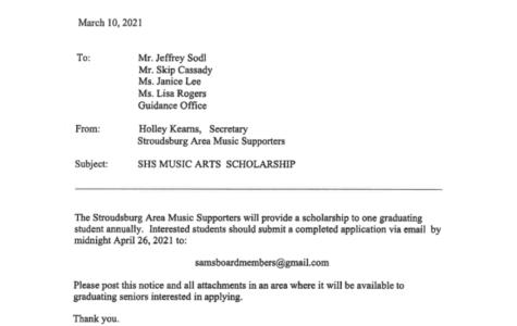 SHS Music Arts Scholarship (Due: 04-26-21)