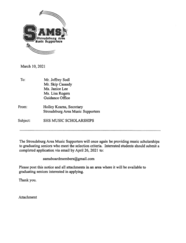 SHS Music Scholarship (Due: 04-26-21)