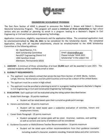 ASHE Engineering Scholarship (Due: 05-28-21)