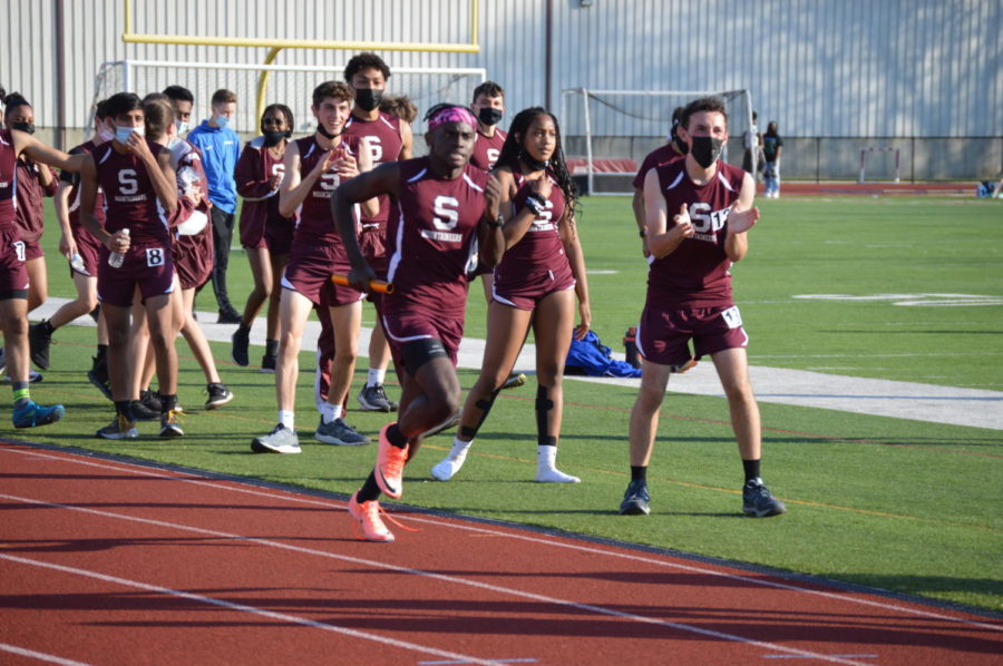 Junior Jalen Morrison sprints to the finish line to help the Stroudsburg 4x400m relay team beat Pleasant Valley.