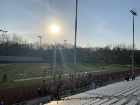 The sun sets over Ross-Stulgaitis Stadium after the Stroudsburg vs Pleasant Valley track meet.