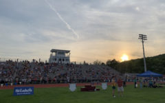 The sun sets over Blue Mountain High School as the championship meet continues.