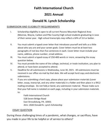 Donald Lynch Scholarship (Due: 06-30-21)