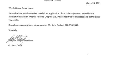 Vietnam Vets of America Scholarship (Due: 05-31-21)