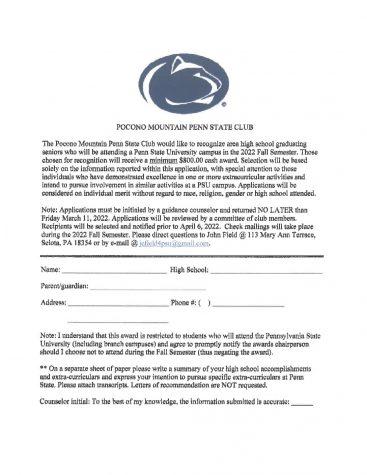 Pocono Mountain Penn State Club(3-11-22)
